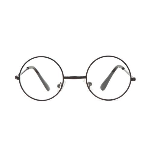 Circular Black Frame Clear Lens Sunglasses w/ Soft Case