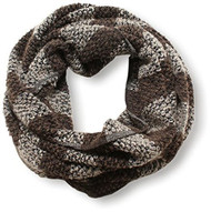 D&Y Women's Striped Textured Knit Infinity Scarf - Brown