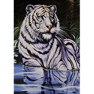 New Signature Collection Queen Size Wading White Tiger Korean Acrylic Blend Blanket