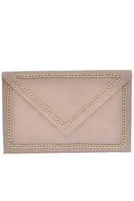 Womens Fashion Chic Envelope Gold-Boundary Clutch Bag - Khaki
