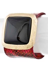 Womens Designer Square Stone Bangle Bracelet