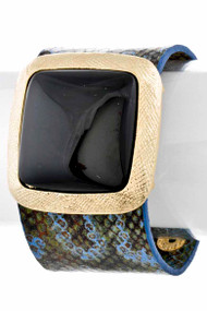 Womens Fashion Square Stone Bangle Bracelet