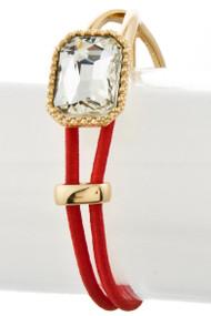 Womens Designer Clear Stone String Bracelet