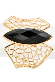 Womens Fashion Pear Stone Side Wing Cutoff Bangle Bracelet