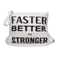 Faster Better Stronger White Clutch Bag