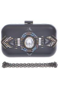 Womens Bejeweled Round Clutch
