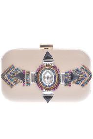Womens Bejeweled Round Clutch