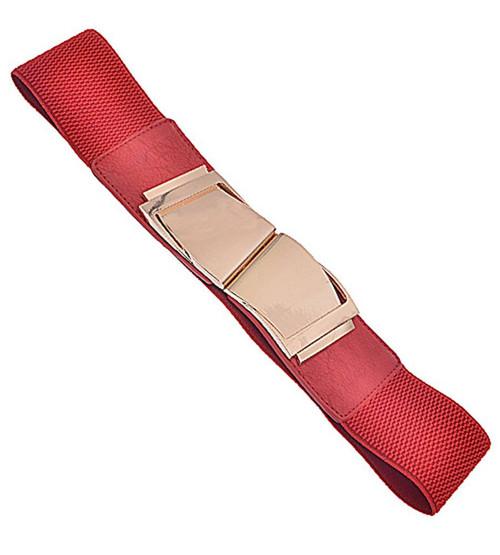 Womens Fashion Wave Buckle Elastic Belt