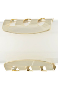 Womens Fashion Square and Oval Thick Cuff Bracelet - Gold