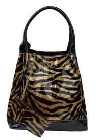 Large Glitter Zebra Print Handbag Purse Tote W/Bonus Coin Purse - Gold C873