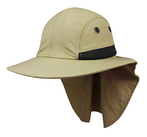 Top Headwear 4 Panel Large Bill Flap Hat - Khaki