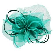 Chic Headwear Satin Braid Pill Box w/ Mesh and Feathers