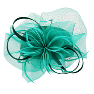 Chic Headwear Satin Braid Pill Box w/ Mesh and Feathers