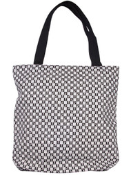 Clover Checkered Black and White Skull Tote Bag, Black and White