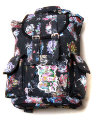 Hipster Rucksack Style Backpack - Black Hard Style Tattoo