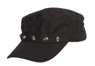 Clover Skulls Band Newsboy Cap - Black