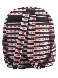 Clover Black and White Striped Heart Backpack