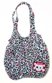 Clover Tote Hobo Sling Style Hand Bag - White Cheetah Animal Print Cute Skull