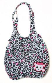 Clover Tote Hobo Sling Style Hand Bag - White Cheetah Animal Print Cute Skull