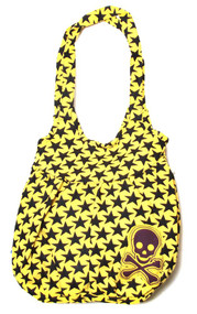 Clover Tote Hobo Sling Style Hand  Bag Yellow with Black Stars and Pirate Skull
