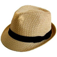 JFH Tweed Straw Cuban Style Fedora -