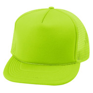 5 Panel Neon Color Poly Mesh Cap - Neon Green