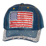Top Headwear Studded USA Flag Baseball Cap