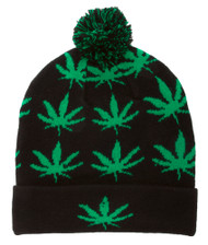 Marijuana Leaves Cuffed Beanie w/ Pom