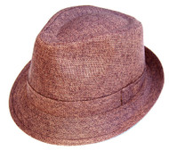 Classic Vintage Woven Fedora Hat- Brown