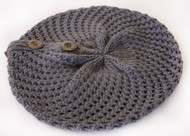 Buttoned Crochet Ribbed Knit Beanie Cap