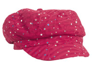 Women's Glitter Sequin Trim Newsboy Style Relaxed Fit Hat Cap