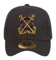 Golden Anchors Black Adjustable Baseball Cap