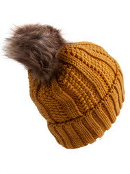 C.C Fleece Lined Cable Knit Faux Fuzzy Fur Skull Cap Cuff Beanie With Pom