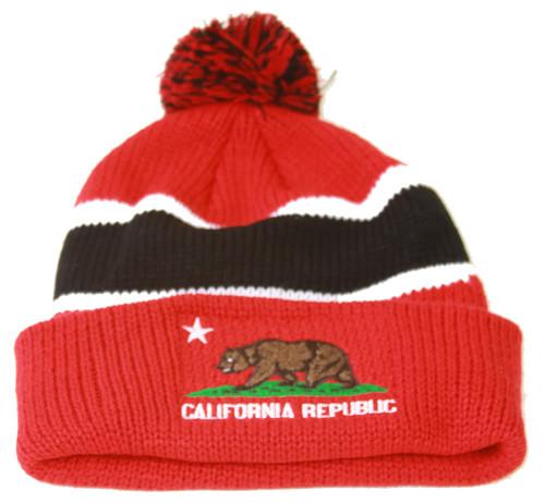 California Republic Winter Cuff Beanie w/ Pom - Red/Black