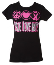 "Womens Breast Cancer Awareness ""Peace Love Hope"" Black T-Shirt"