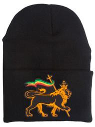 Rasta Lion of Judah Cuffed Beanie