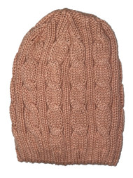 Thick Knitted Cuffless Beanie, Light Pink