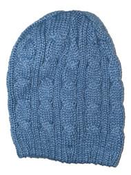 Thick Knitted Cuffless Beanie, Light Blue