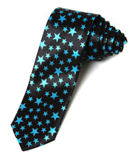 2' Trendy Skinny Tie  - Black with Blue Stars