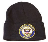 Delux Military 3D Embroidery Cuff Beanie United States Navy, Black