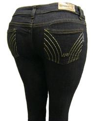 Women's Omega Skinny Stretch Jeans- 5 Lone Golden Stitch 2