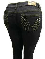 Women's Omega Skinny Stretch Jeans- 5 Lone Golden Stitch 2