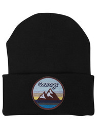 Top Headwear Courage With Mountains Patch Cuffed Beanie