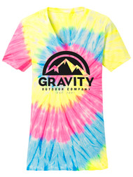 GOC Mountain Water-Based Womens Tie-Dye V-Neck Shirt