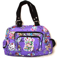 Clover Three Front Pocket Hand Bag - Purple Hard Style Tattoo