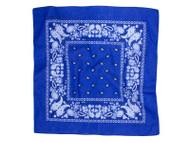 Paisley Poly Bandanas, Royal Blue