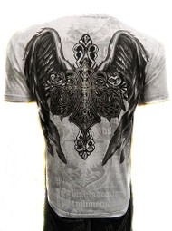 Royalty Winged Dagger Eagle Emblem Crew Neck Cotton Men's Fashion T Shirt