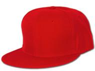 Blank Flat Bill Baseball Hat , 7 Red