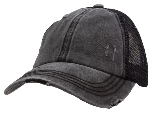 Gravity Threads Washed Distressed Solid Ponytail Adjustable Baseball Cap