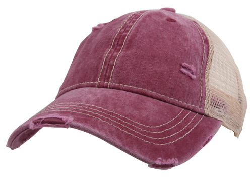 Gravity Threads Washed Distressed Two-Tone Ponytail Adjustable Baseball Cap